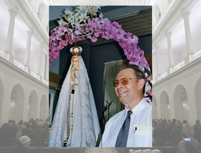 Carl Malburg and his statue of Our Lady of Fatima.