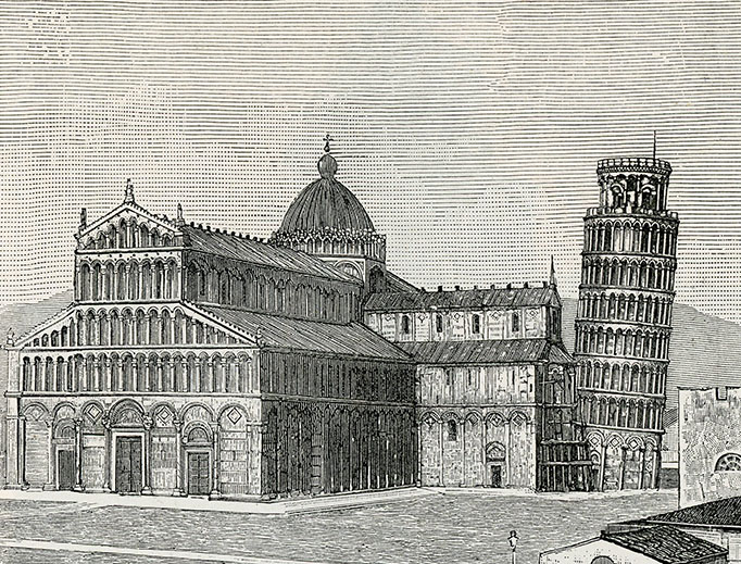 Woodcut of the Duomo of Pisa and its leaning campanile.