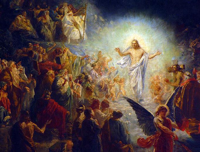 """Alsace, Bas-Rhin, Église protestante de Notre Seigneur Jésus-Christ de Bischheim. Peinture """"Le Christ aux limbes"""", XXe."""