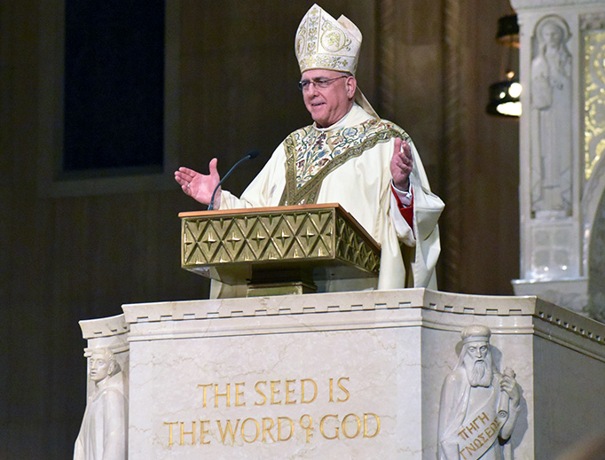 Archbishop Joseph F. Naumann of Kansas City in Kansas gives the homily during the Vigil Mass for the 2019 March for Life at the Basilica of the National Shrine of the Immaculate Conception in Washington D.C., Jan. 17, 2019.