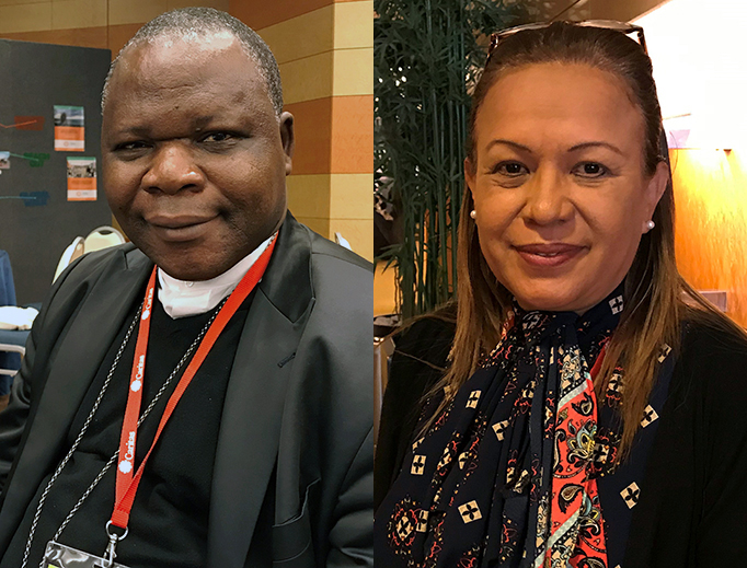 Cardinal Dieudonné Nzapalainga (L), president of Caritas in the Central African Republic; Janeth Marquez (R), Caritas representative for Venezuela
