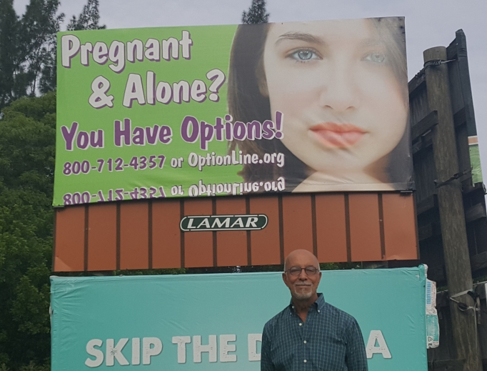 Above, Ed Daccarett has seen lives saved because of billboards like this one (and the one below).