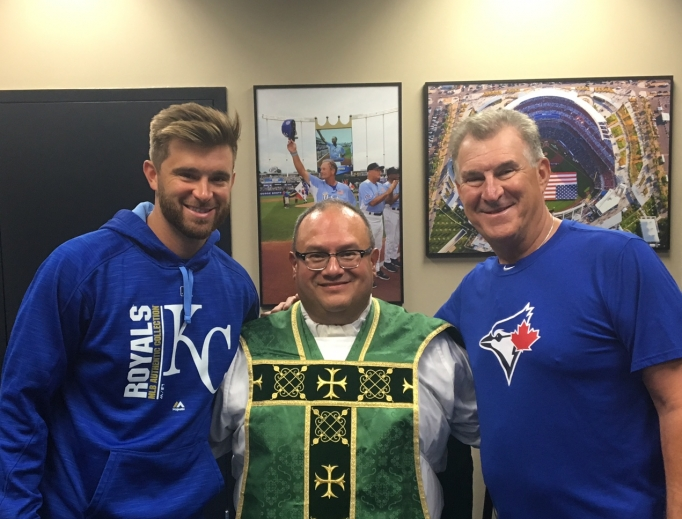From left to right: Drew Butera, Father Richard Rocha and Sal Butera.