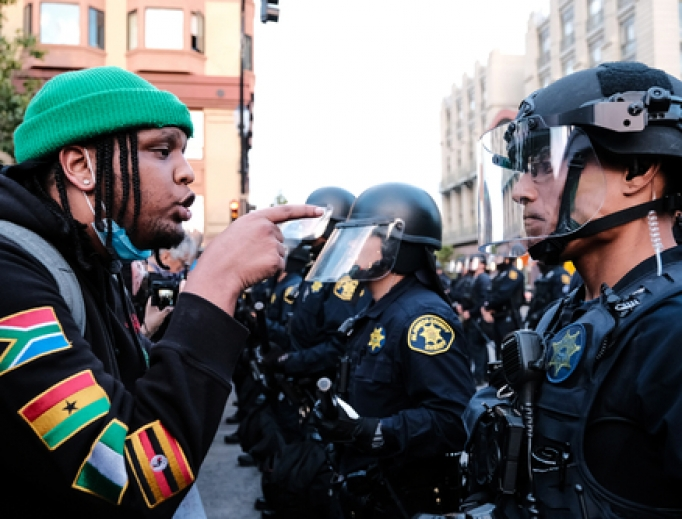 Protestors gathered in the thousands in response to the death of George Floyd at a standoff with the Oakland police force, May 29, 2020.