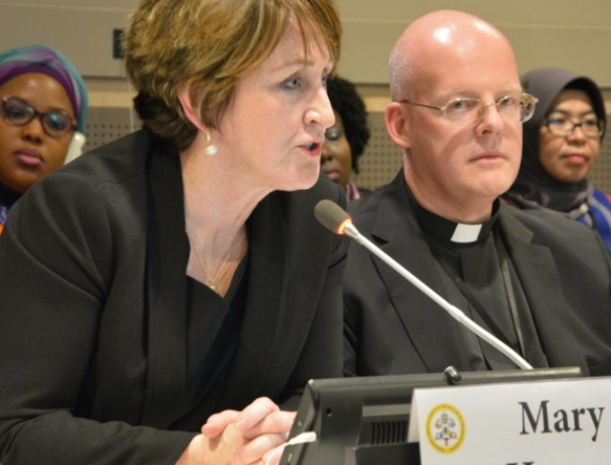 Mary Hasson, Ethics and Public Policy Center Kate O'Beirne Fellow, shown participating in a March 15, 2018, panel at the 62nd session of the United Nations Commission on the Status of Women, complied a new survey of U.S. Catholic women ahead of the Vatican abuse summit.