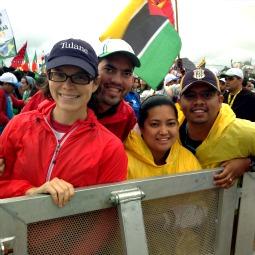 WYD pilgrims from Austin, Texas, attend the opening Mass on Copacabana beach.