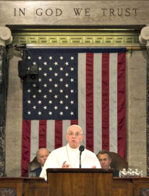 Pope Francis addresses a joint meeting of Congress in Washington.