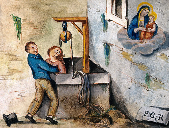 """""""A Woman Rescued from a Well by a Man Praying to Sansovino's Virgin and Child"""""""