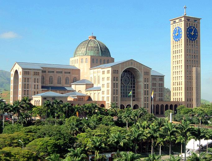The Basilica of the National Shrine of Our Lady of Aparecida, in Aparecida, São Paulo, Brazil.