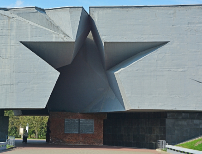 The main entrance in form of a Soviet star to the Brest Hero Fortress, a WWII memorial in Belarus.