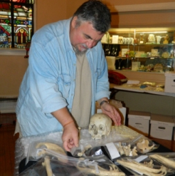 SAINT STUDY. Philip DiBlasi, a Catholic staff archeologist at the University of Louisville, volunteered to examine the relics of Sts. Magnus and Bonosa.