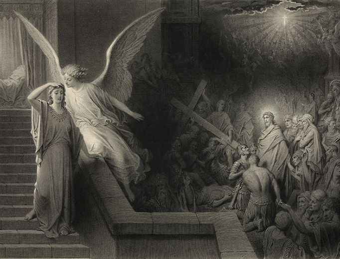 "Le Rêve de la femme de Pilate (""The dream of Pilate's wife""). Engraving by Alphonse François (1814-1888) after Gustave Doré."