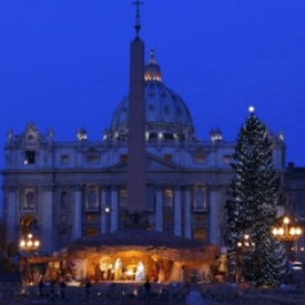 The Nativity scene and Christmas tree are seen in the early morning in St. Peter's Square.
