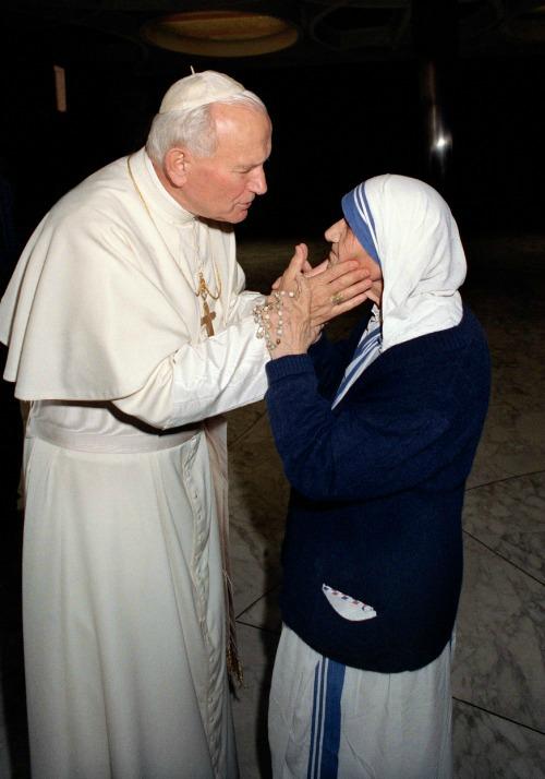 Pope St. John Paul II with Mother Teresa in 1988.