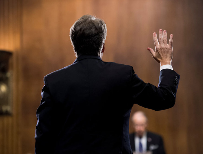 Judge Brett Kavanaugh is sworn in before testifying during the Senate Judiciary Committee hearing Sept. 27, 2018 in Washington, DC.