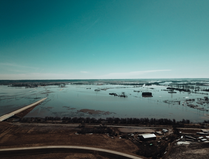 Historic flooding is seen in Bellevue, Nebraska, as a result of the March 2019 bomb cyclone.