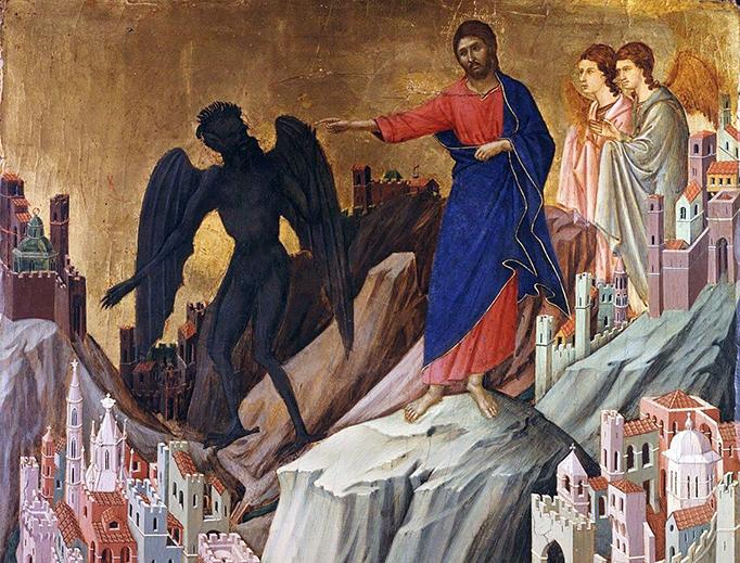 """Duccio di Buoninsegna, """"The Temptation of Christ,"""" c. 1310"""