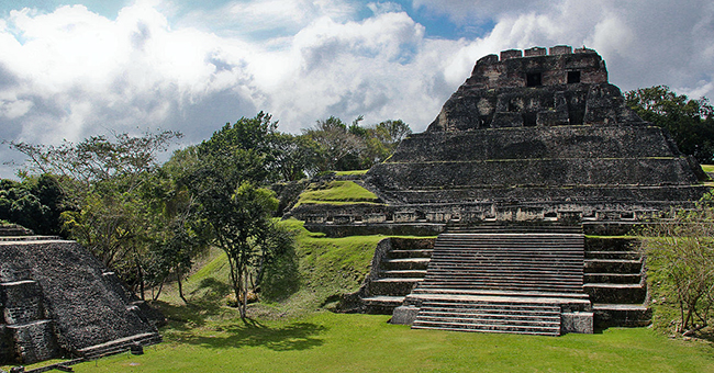 Temple I on the Great Plaza and North Acropolis seen from Temple II in Tikal, Guatemala