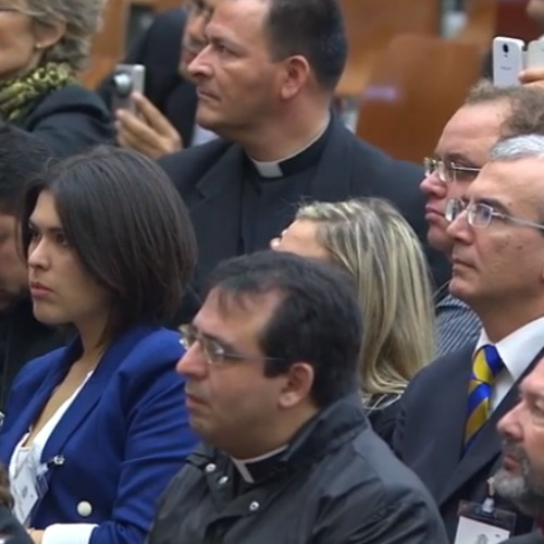 Canonists participating in a course at the Vatican about the dispensation of marriages listen to an address by Pope Francis Nov. 5.
