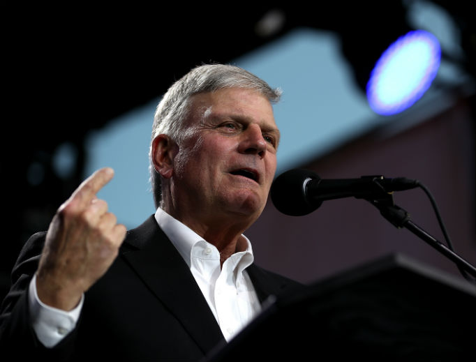 Evangelical leader Rev. Franklin Graham speaks during his 'Decision America' tour at the Stanislaus County Fairgrounds May 29 in Turlock, California. Graham, a vocal supporter of President Donald Trump, broke with him on his immigration stance.