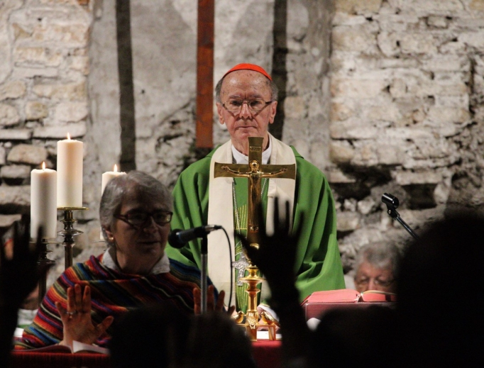 Brazilian Cardinal Claudio Hummes, the synod's relator general, celebrated Mass Oct. 20 in the Catacombs of Domitilla; the Mass was attended by about 250 faithful, including other synod participants, representatives of REPAM, the body running the Oct. 6-27 meeting, religious and local faithful.