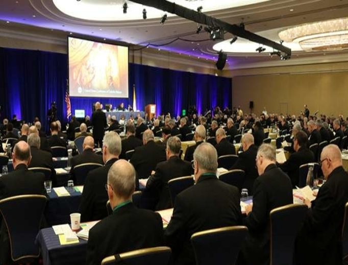 Bishops attend a meeting of the U.S. Conference of Catholic Bishops' General Assembly on June 11.