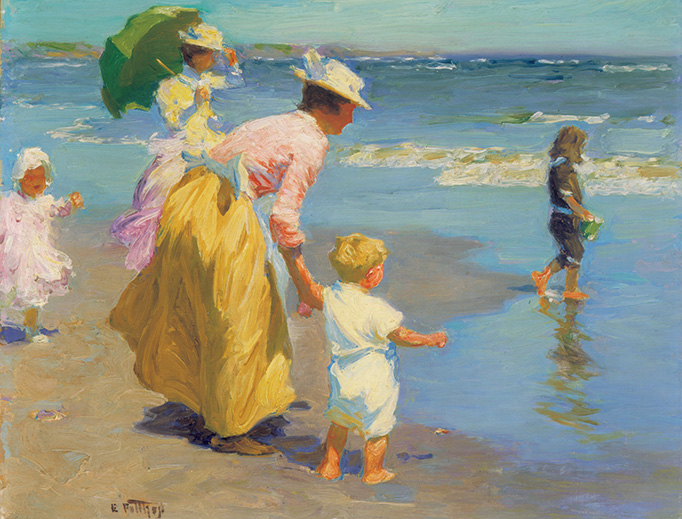 "Edward Henry Potthast (1857-1927), ""At the Beach"""