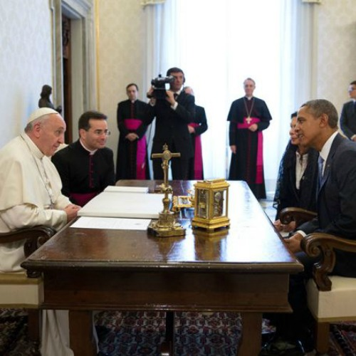 President Barack Obama meets with Pope Francis for a private audience at the Vatican, March 27, 2014.