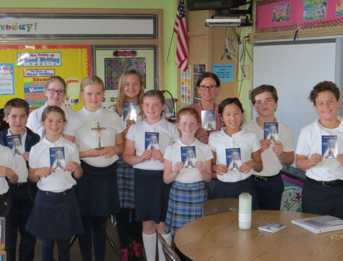 Lisa Tuszkiewicz's fifth-grade class at Holy Name of Jesus School in Medina, Minnesota, has been praying for vocations.