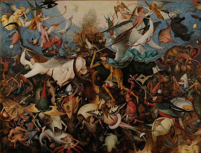 Pieter Bruegel the Elder, The Fall of the Rebel Angels, which is showcased on the cover of this book