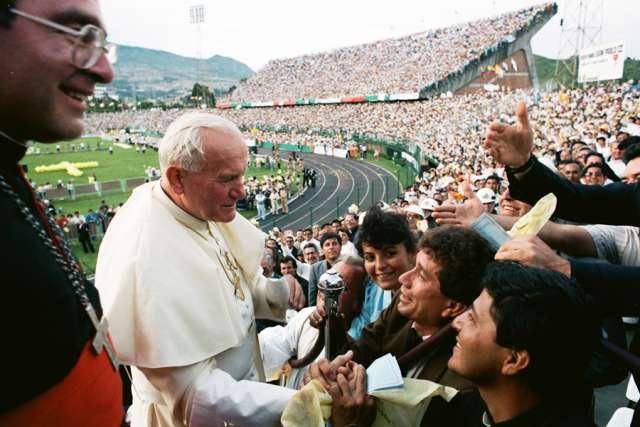 Pope St. John Paul II visits Colombia in 1986.