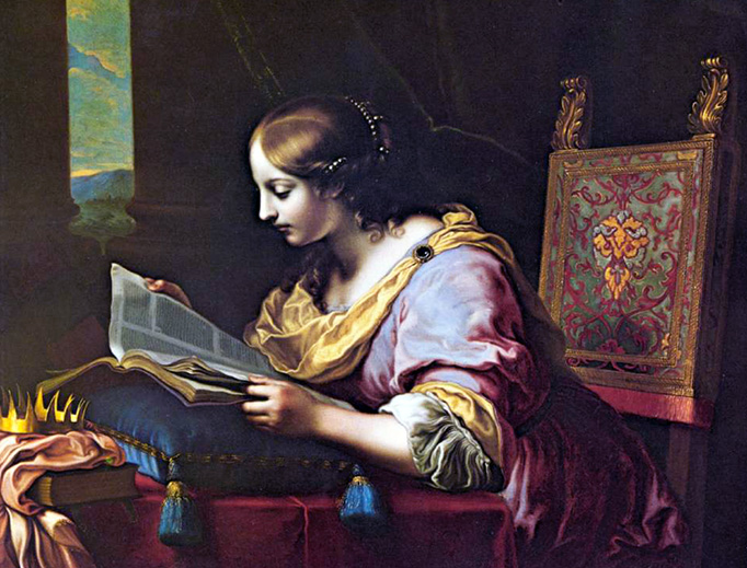 """Carlo Dolci (1616-1686), """"St. Catherine Reading a Book"""""""
