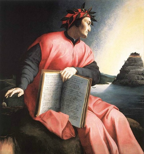 Dante depicted as looking at purgatory, in a 16th-century painting.