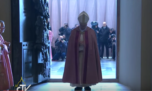 Pope Francis having just opened the Holy Door at St. John Lateran basilica yesterday.