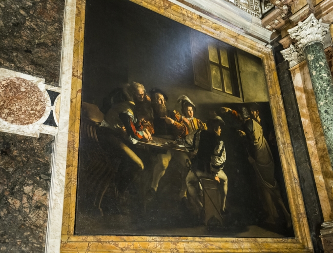The Calling of St. Matthew hangs in the Church of San Luigi dei Francesi (St. Louis of France).