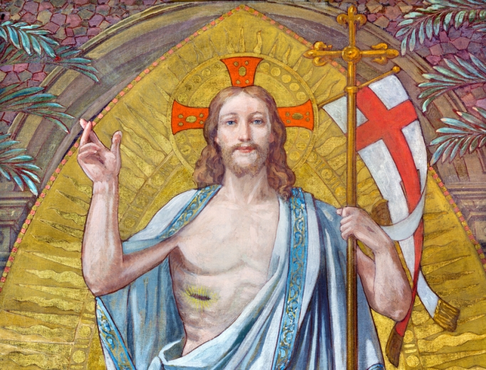 The fresco of the Resurrection of the Lord in the first chapel of Don Bosco, the founder of the Salesians, by Paolo Giovanni Crida (1886-1967) in Turin, Italy.