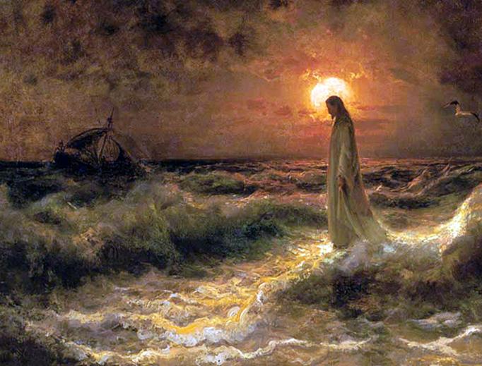 Julius Sergius Von Klever, 'Christ Walking on the Water', 1880