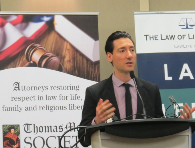 David Daleiden speaks at 'Law of Life Summit' 2019.