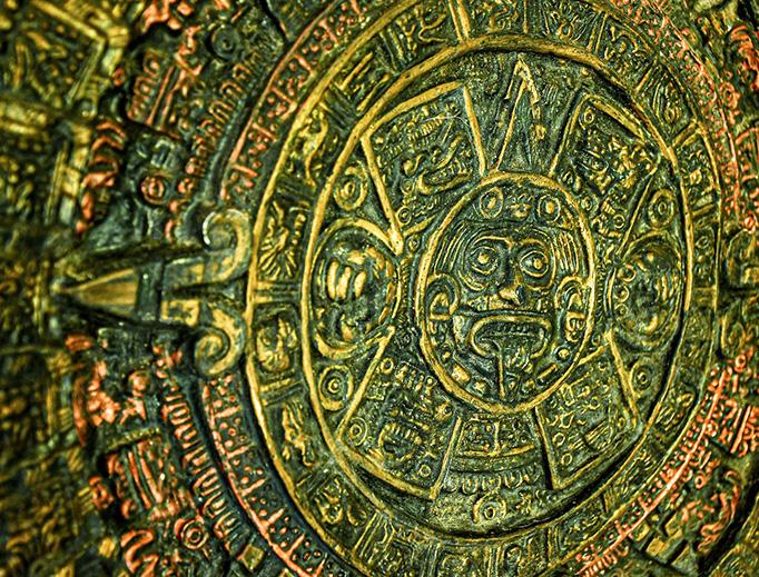 A Mayan calendar carved in stone.