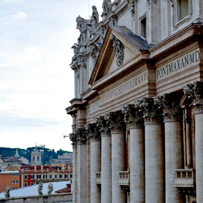 A view of the facade of St. Peter's Basilica from the Vatican's Apostolic Palace.