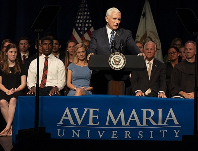 Vice President Mike Pence delivering a speech to Ave Maria University students, March 28, 2019.