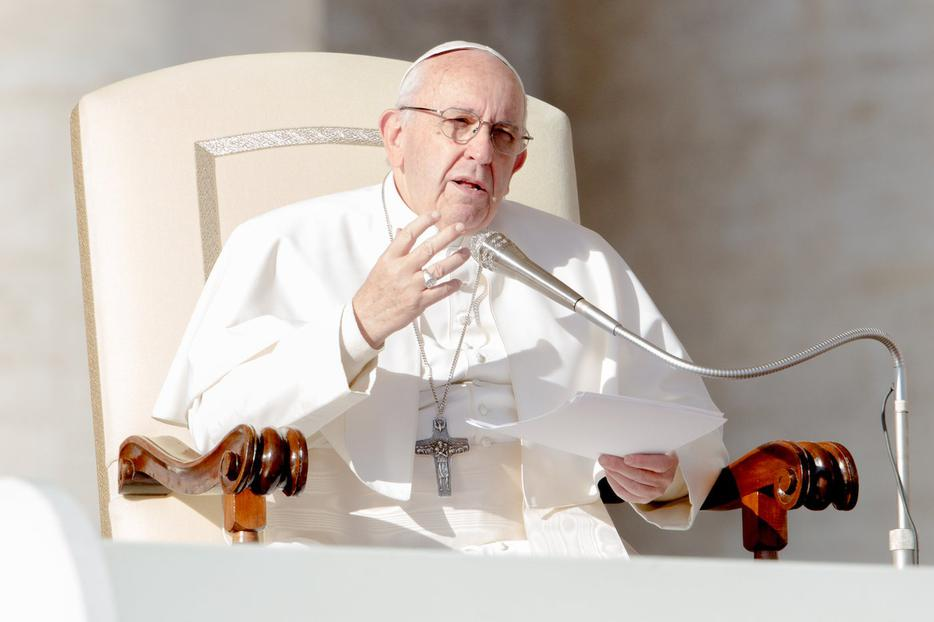 Pope Francis addressing pilgrims at his weekly general audience, St. Peter's Square, Nov. 22, 2017.