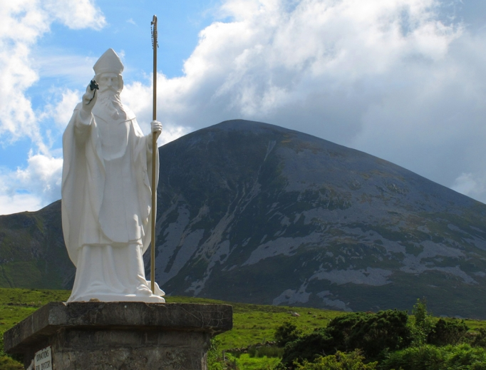 Statue of St. Patrick at Croagh Patrick in County Mayo, Ireland.