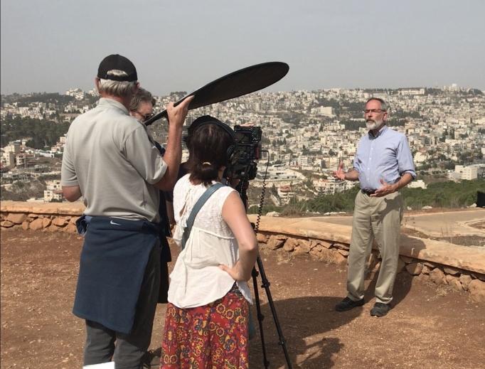Leonardo Defilippis, the series narrator, films Messiah at Precipice Hill overlooking Nazareth.