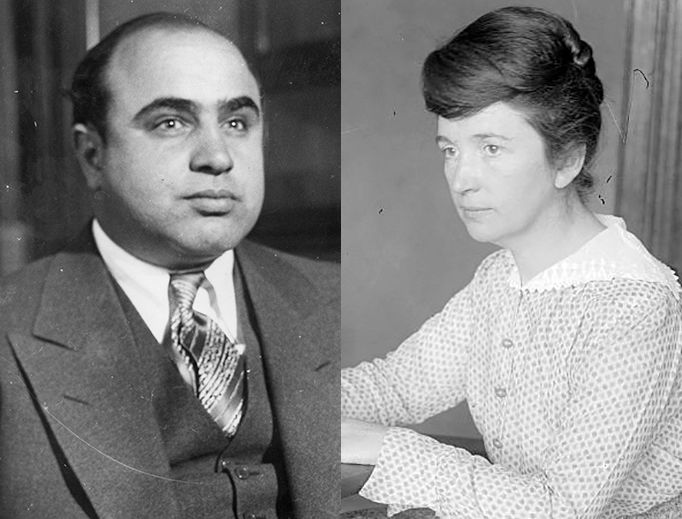 """COMRADES IN ARMS. Alphonse Capone (left), Chicago's self-described """"secondhand furniture dealer,"""" in 1930; and Margaret Sanger, New York """"social reformer"""" and Planned Parenthood foundress, in 1916."""