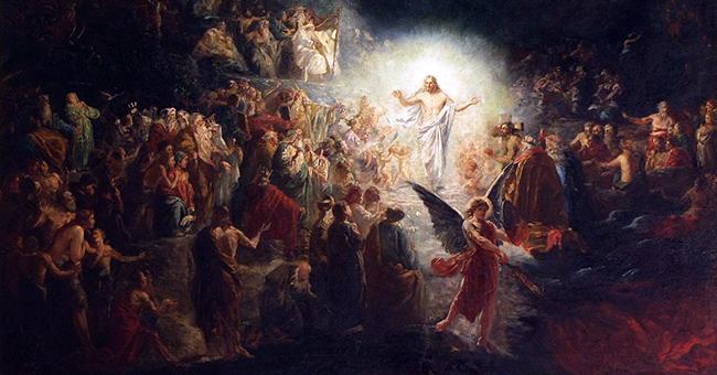 """Alsace, Bas-Rhin, Bischheim, Église protestante luthérienne de Notre-Seigneur-Jésus-Christ, Peinture """"Le Christ aux limbes"""" (XXe)"""