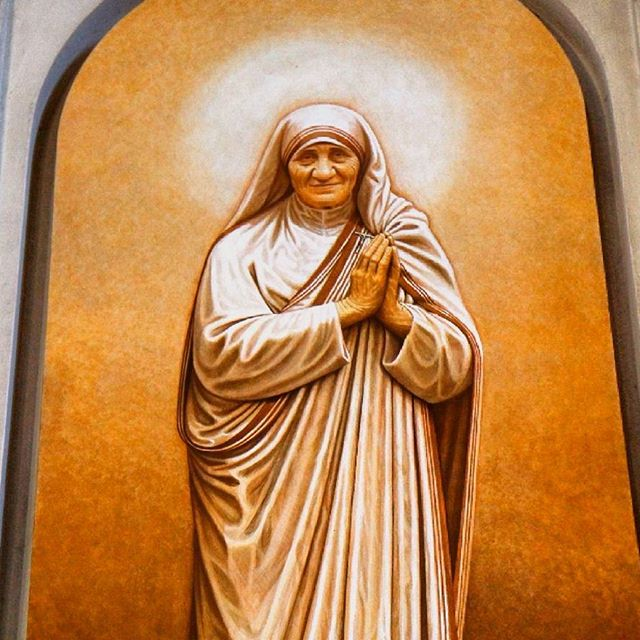 Blessed Mother Teresa painting at the Basilica of St. Sebastian Outside the Walls in Rome
