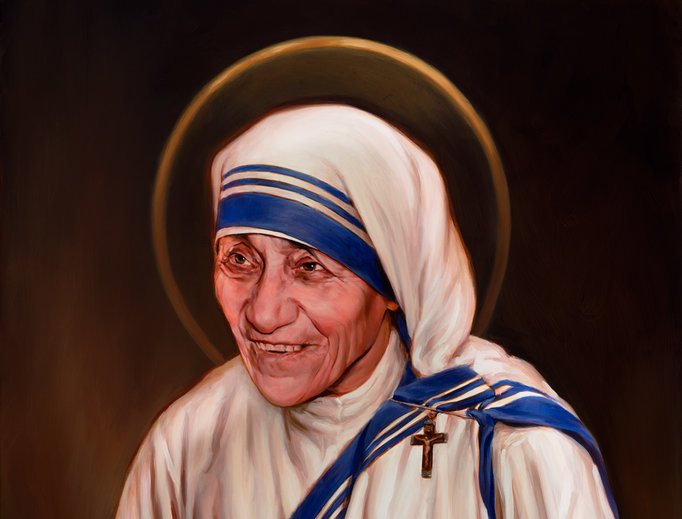 Artist Chas Fagan's canonization portrait of Mother Teresa, commissioned by the Knights of Columbus