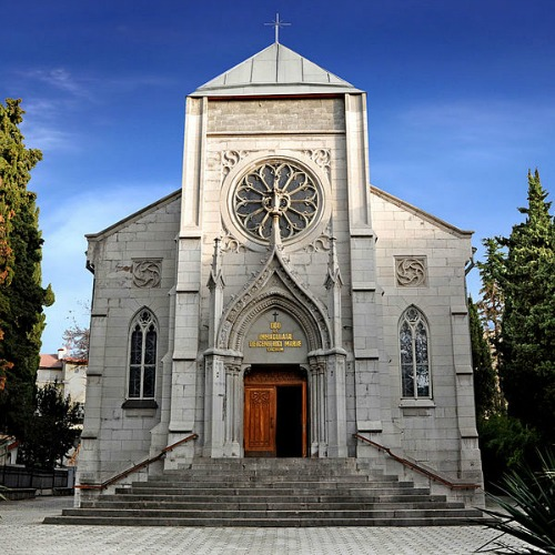 A Catholic church in Yalta, Crimea, Ukraine.