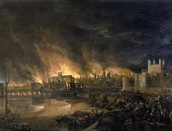 This anonymous 1675 painting shows the great fire of London as seen from a boat in vicinity of Tower Wharf. The painting depicts Old London Bridge, various houses, a drawbridge and wooden parapet and several churches, including Old St. Paul's.